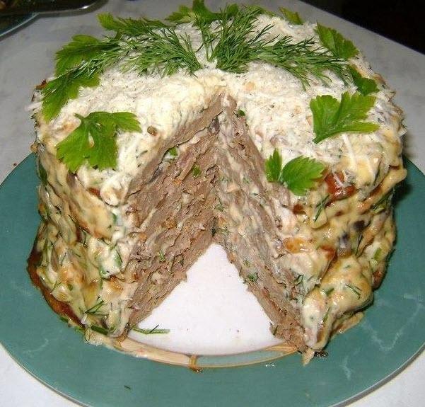 Печёночный торт с грибами фото