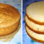 Бисквит получается высокий, лёгкий и воздушный. Можно разрезать на 2, 3 или 4 коржа.
