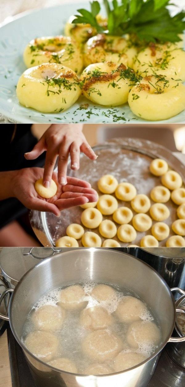 Картофельные клецки. Настолько вкусное сочетание, что и передать невозможно. Выглядит аппетитно и готовится абсолютно просто и быстро. Рекомендую.
