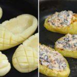 «Лапти» из картофеля с грибной начинкой. И на праздник, и на обед.