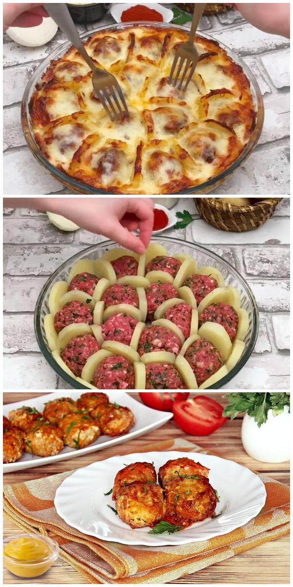 Вместо скучного картофельного пюре - невероятно вкусные фрикадельки в сотах под соусом бешамель. Обожаю это блюдо!