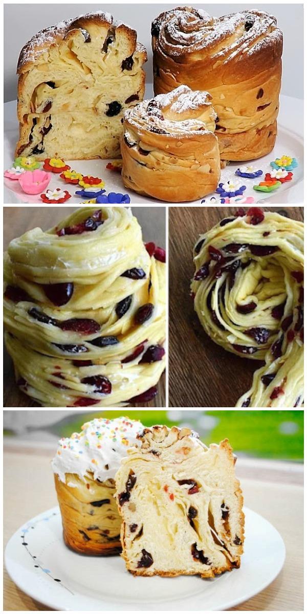 Красавцы Куличи -Краффины:с изюмом, клюквой и курагой, закрученные в красивую розочку с сахарной шапочкой сверху!