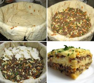 Мясной пирог из тонкого лаваша фото
