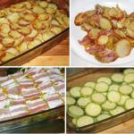Картофель с беконом и кабачками