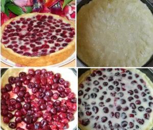 Вишнёво-творожный пирог