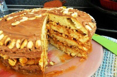 """Бисквитный торт """"Сникерс"""""""