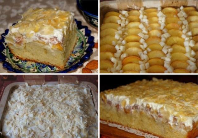 Пирог с персиками и грушами