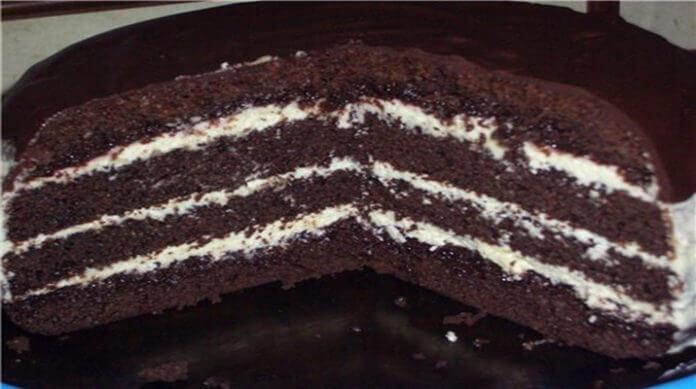 Торт Шоколад на кипятке готовится мега быстро, в духовом шкафу растет прямо на глазах