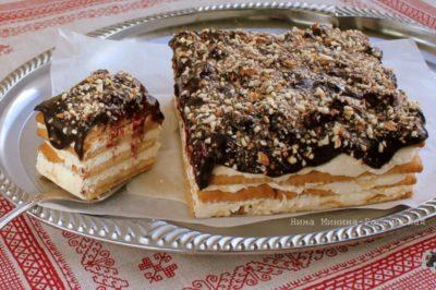 Торт без выпечки из печенья и творога за полчаса!