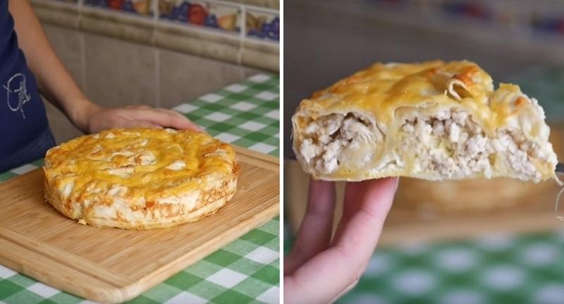 Шикарный мясной пирог наспех: никакой возни с тестом — его просто нет
