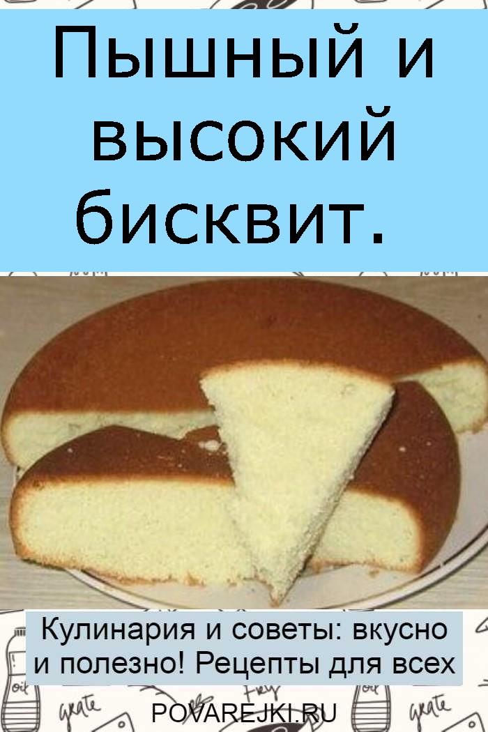 Пышный и высокий бисквит.