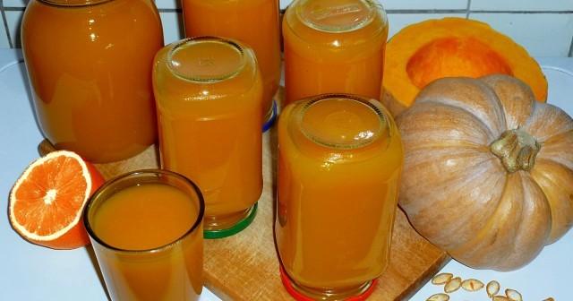 Тыквенный сок с апельсином и лимоном.